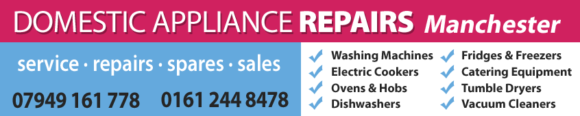 DOMESTIC APPLIANCE REPAIRS have been providing a fast call-out washing machine, cooker, dishwasher and fridge repair service in the Greater Manchester and Tameside areas for many years.